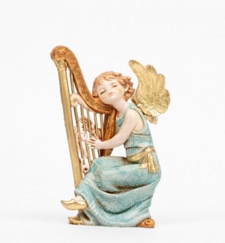 Ange avec une harpe (361) coloration porcelaine, H 15 cm