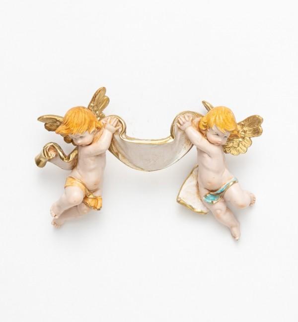 Paire d'Anges (610) coloration porcelaine, 9x15 cm