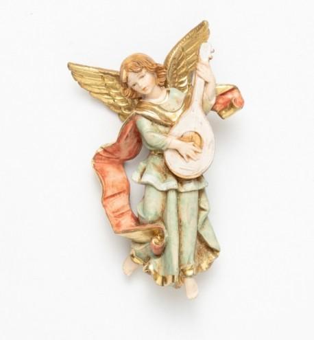 Ange avec une mandoline (670) coloration porcelaine, H 11 cm