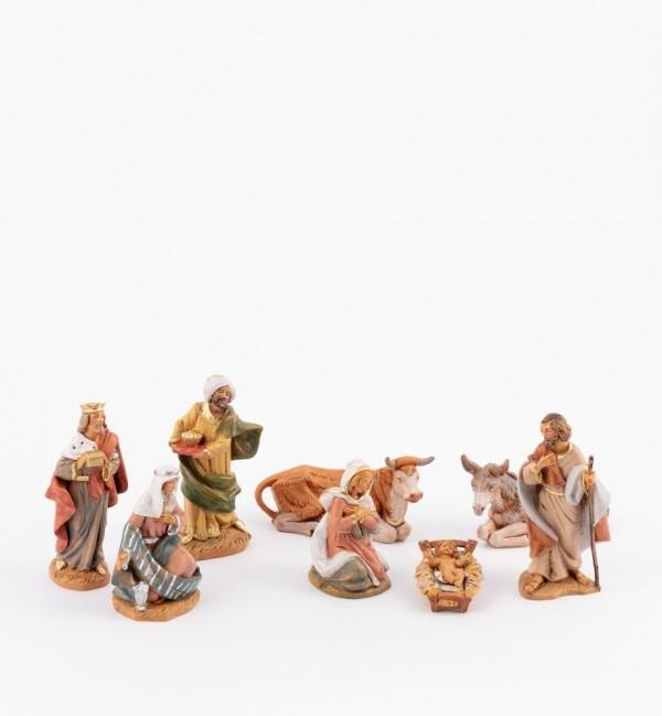 Naissance de Jésus, 8 éléments pour crèche 9,5 cm