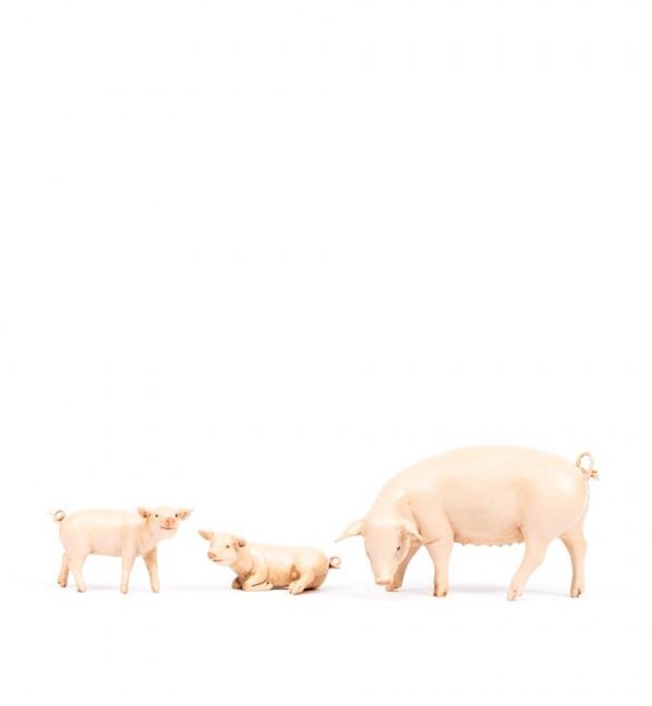 Famille de cochons pour crèche 19 cm