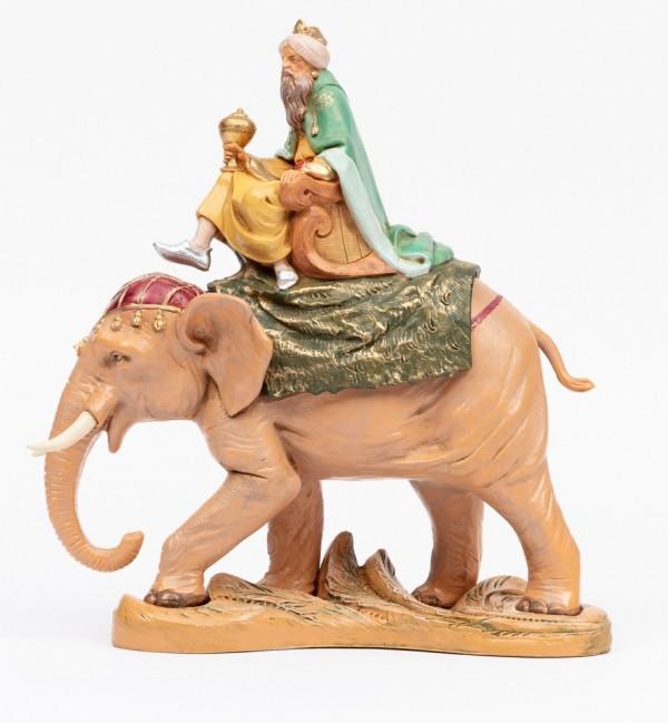Roi Mage sur un éléphant pour crèche 19 cm