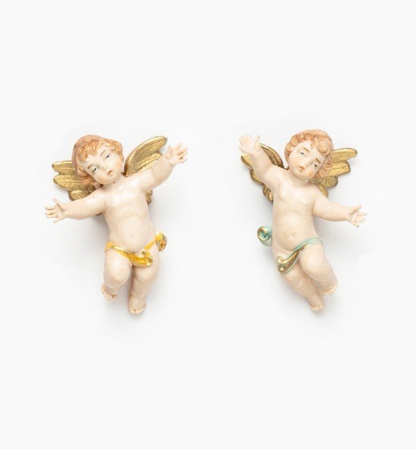Anges volants (1-2) coloration porcelaine, H 6 cm