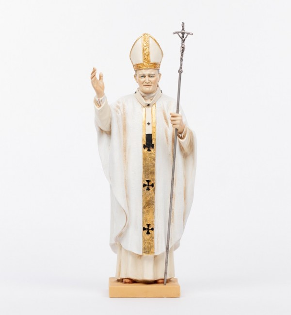 Pape Jean-Paul II en soutane blanche en résine, H 56 cm