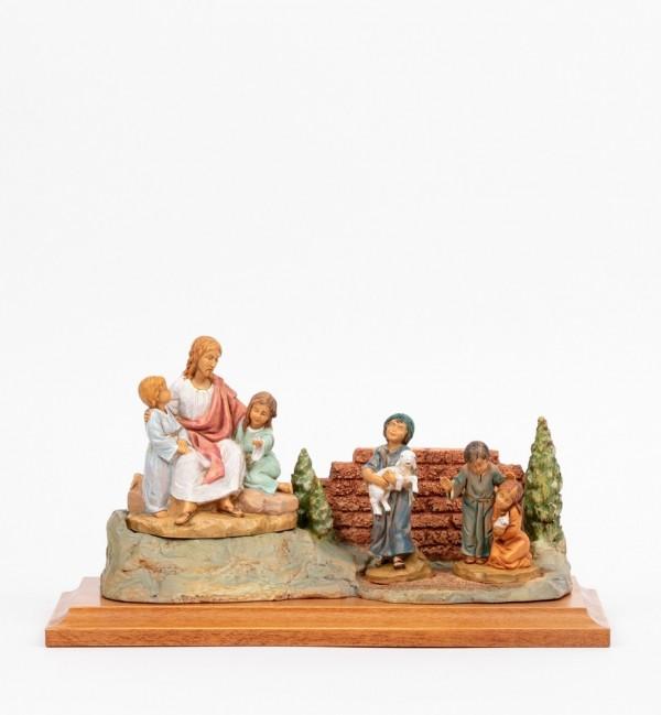 Scène de Jésus avec des enfants avec personnages, H 12 cm